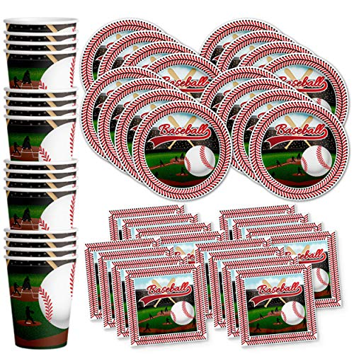 (Baseball Star Birthday Party Supplies Set Plates Napkins Cups Tableware Kit for 16)