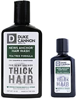 product image for Duke Cannon Supply Co. - News Anchor Hair Wash Shampoo and Conditioner, Tea Tree (10 oz and 3 oz) Thick Hair Shampoo and Conditioner Shower Soap Full and Travel Bundle Combo - Tea Tree Scented
