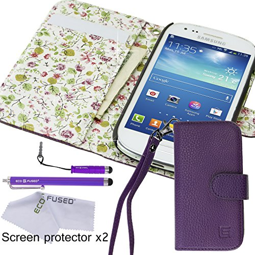 Eco-Fused Case Bundle for Samsung Galaxy S3 Mini (I8190) including Faux Leather Cover with Floral Interior / Lanyard / 2 Stylus Pens / 2 Screen Protectors / Microfiber Cleaning Cloth (Leather Samsung S3 Mini compare prices)