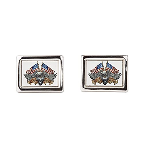 Motorcycle Eagle and US Flag Royal Lion Cufflinks Rectangular
