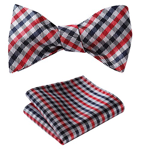 (HISDERN Men's Check Plaid Bowtie Formal Tuxedo Self-Tie Bow Tie and Pocket Square Set Red)