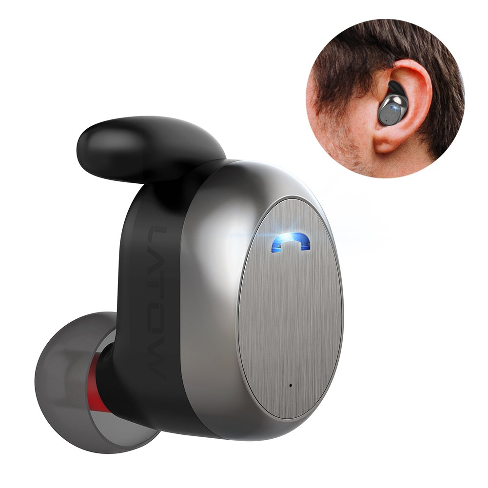 Bluetooth 4.2 Mini Wireless Earbud, LATOW AME Invisible Headphone HandsFree in Ear Bluetooth Earpiece with HD Microphone, Car Truck Sport Business Single Headset for iPhone Samsung Android