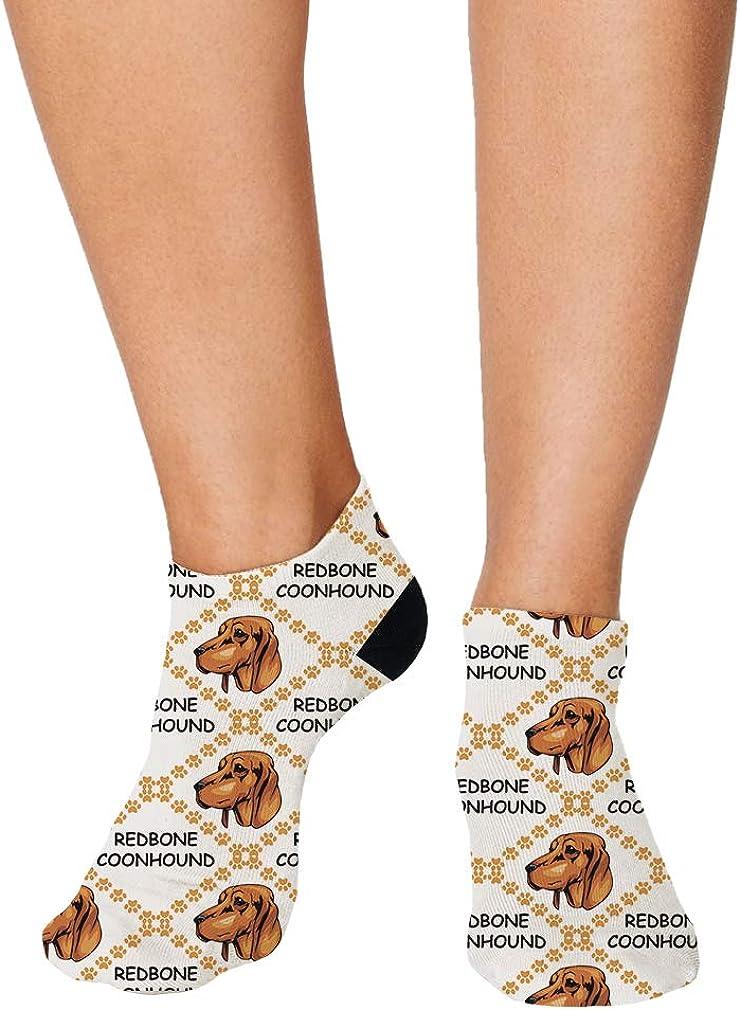 Redbone Coonhound Dog Paws Pattern Men-Women Adult Ankle Socks