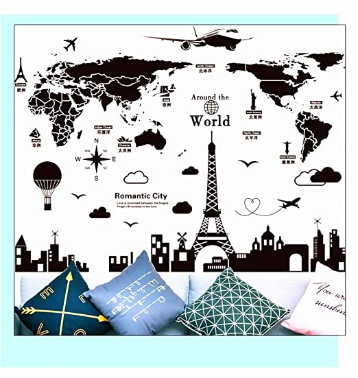 SHAREPARK Romantic World Map City Wall Decal Balloon Paris Effeil ...