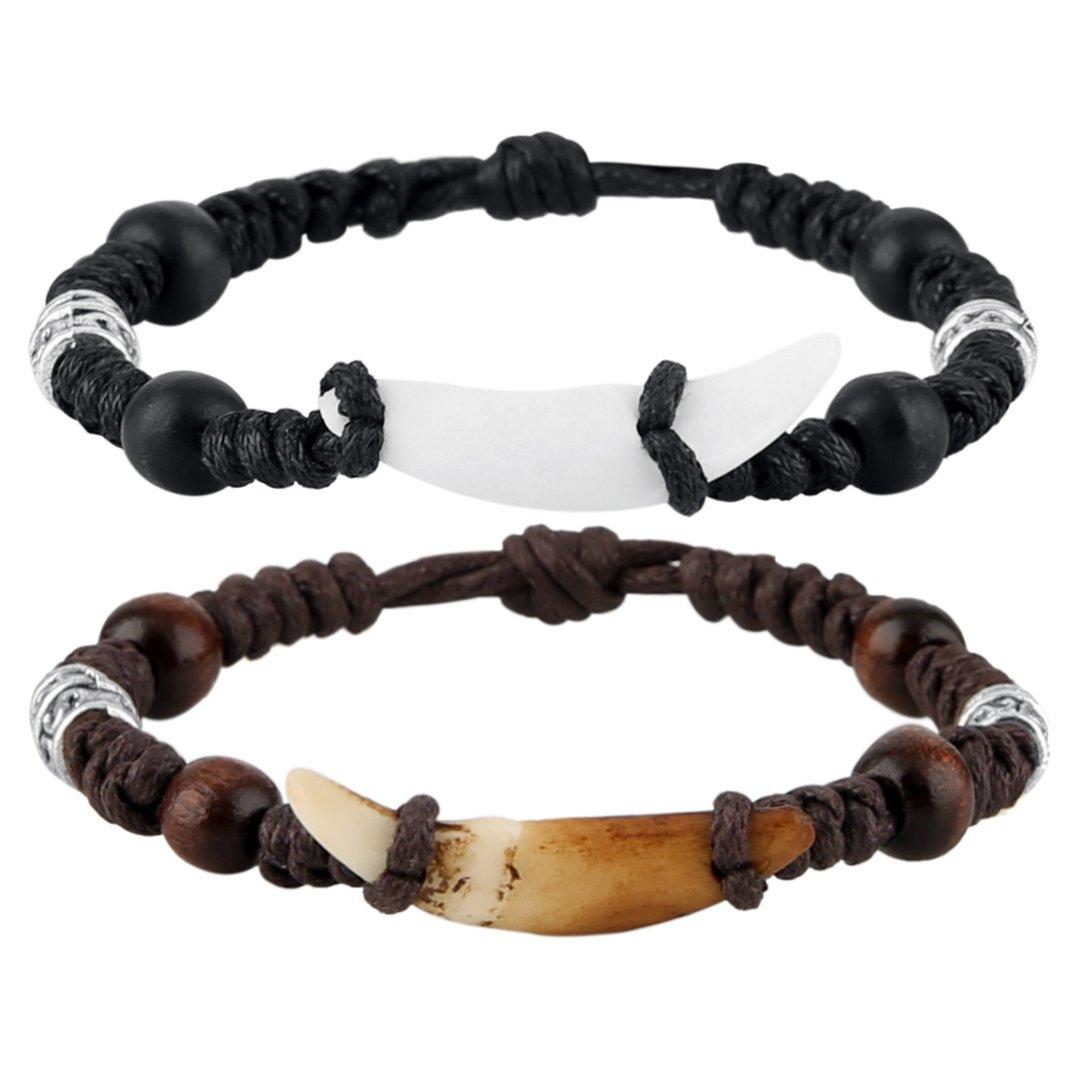 HZMAN Tibetan Style Real Wolf Tooth Silver Beads Adjustable Cord Bracelet, Prehistoric Caveman Tribal SZ80106
