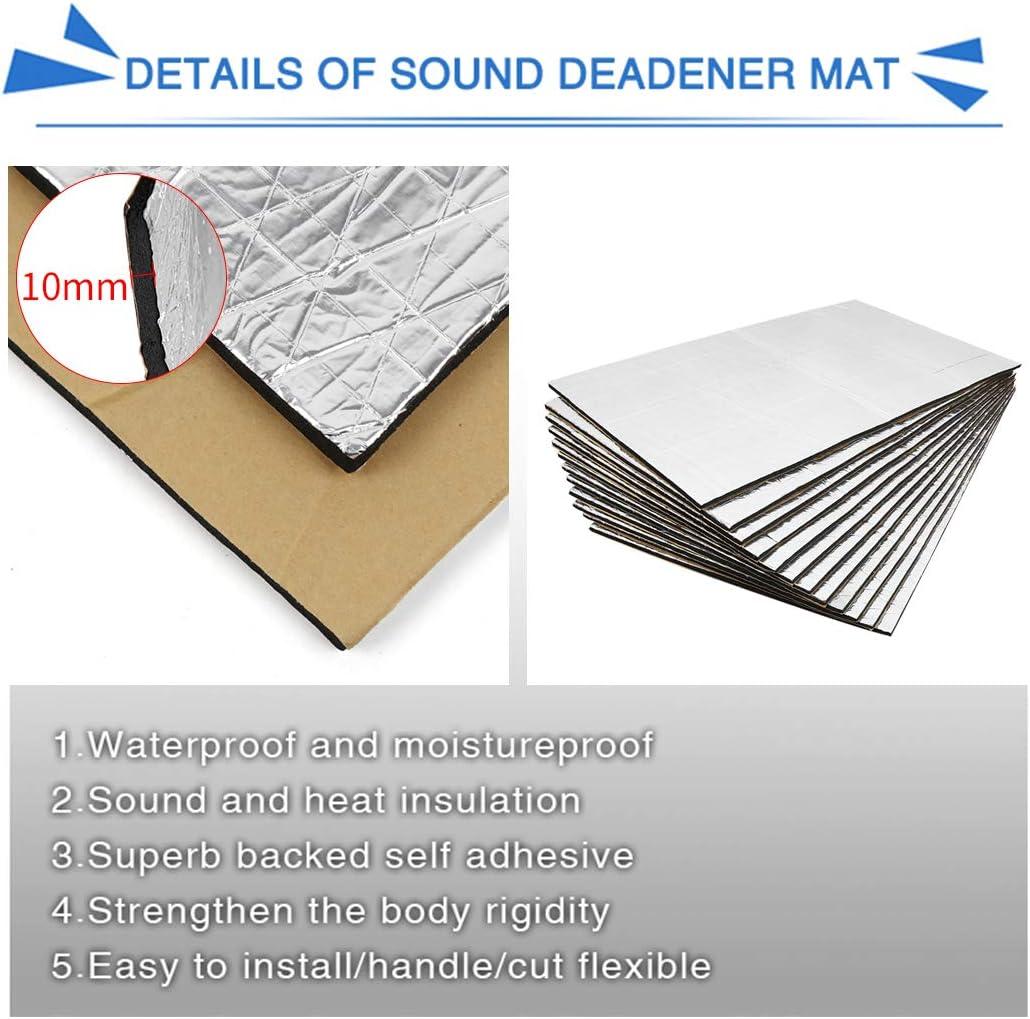 uxcell 394mil//10mm 14.4sqft Sound Deadening Noise Deadener Insulation Mat Alumina Fiber Muffler Cotton Acoustic Barrier 9pcs 20x12inch//50x30cm