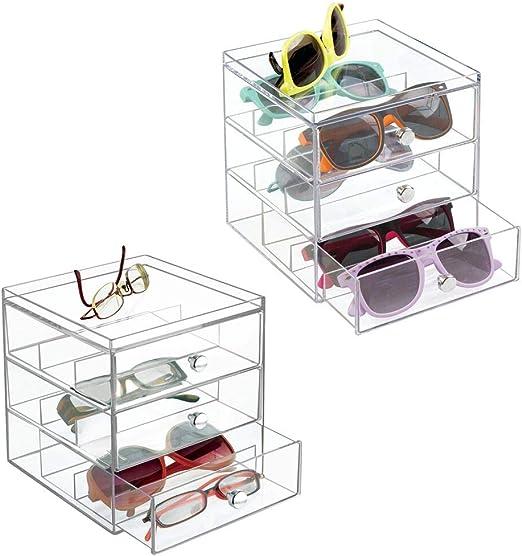 mDesign Juego de 2 apilable Organizador para gafas, gafas de sol, gafas de lectura – 3 Cajones, transparente: Amazon.es: Juguetes y juegos