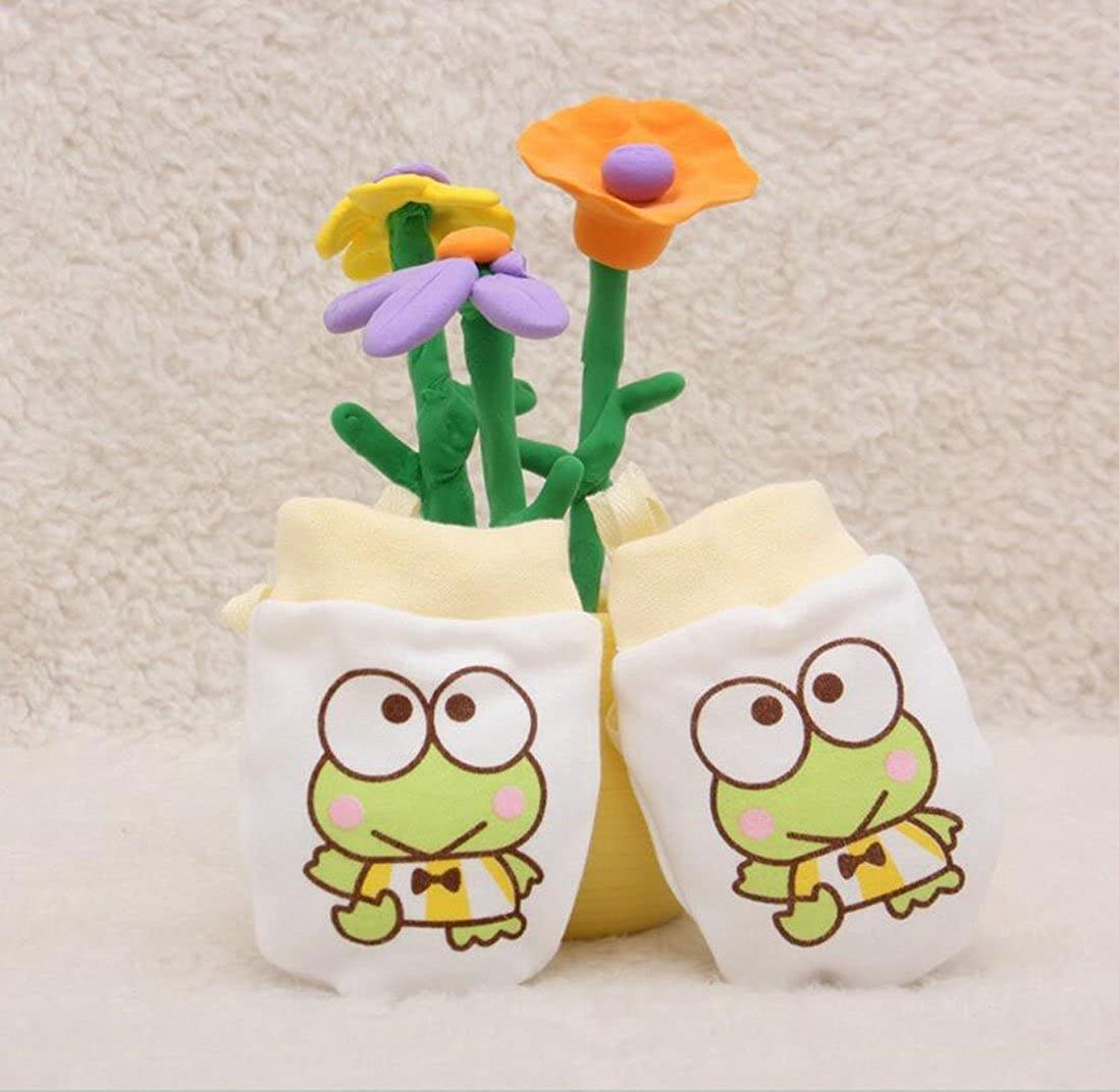 Lucky staryuan 4Pack Baby Gloves Cotton Infant No Scratch Gloves Drawstring Adjustable Frog