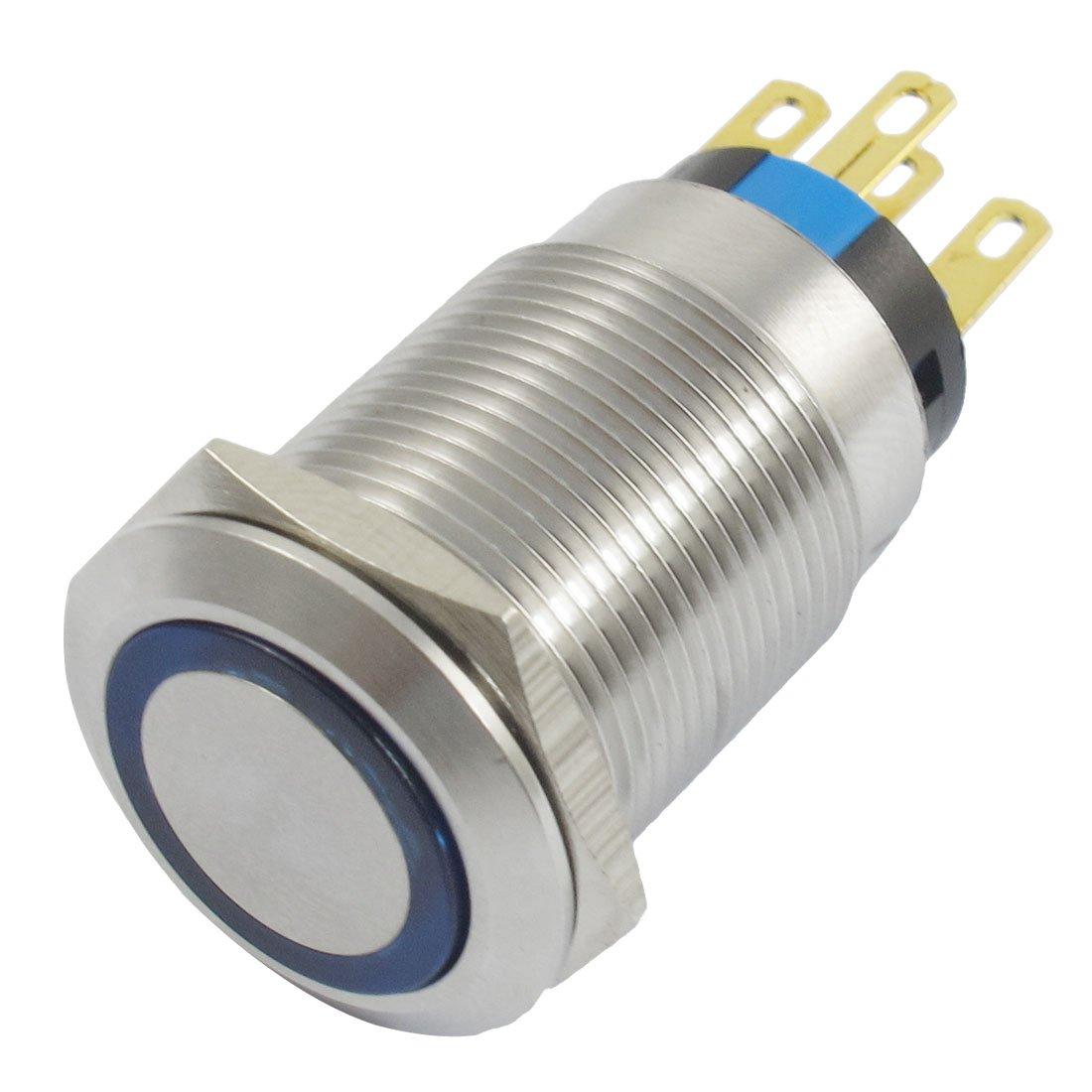 24 V azul de auto-bloqueo contacto SPDT inoxidable interruptor de botó n Sourcingmap SYNCTEA001506