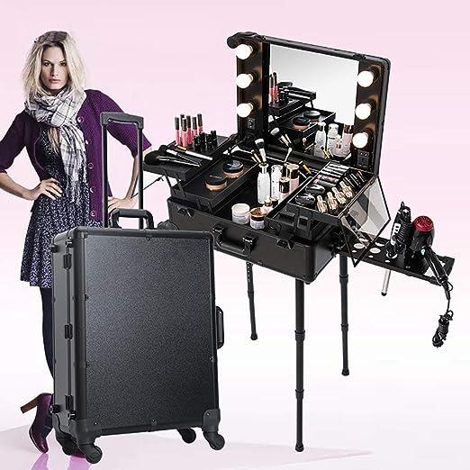 ZZSQ Estuche de Tren de Maquillaje de peluquería portátil rodante con Patas de Espejo con luz LED 4 Ruedas Estuche de Belleza Estuche cosmético Vanity Estuche Organizador,Negro: Amazon.es: Jardín