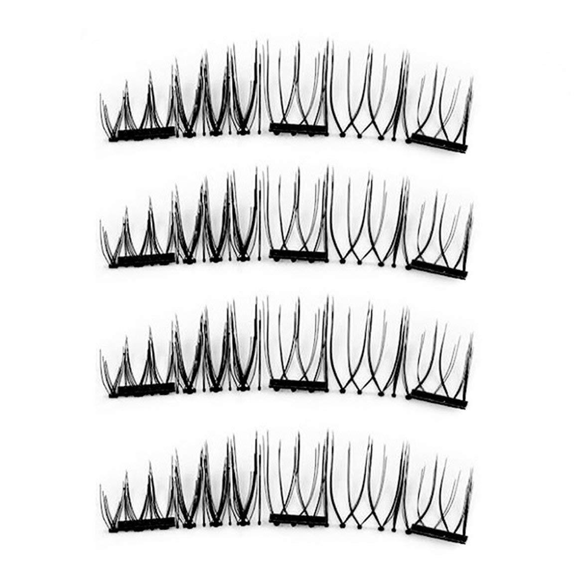 False Eyelashes 1 Set False Eyelashes Magnetic Lashes Three Magnet Glue Free Fake Eye Lashes Natural Chemical Fiber Hand Made Strip Lashes Tivolii