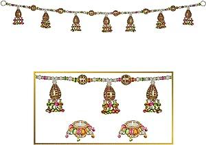 "HATHKAAM 36"" Multi Color Beaded Toran with Diya Combo for Diwali Decoration Decor Main Front Door Hanging Toran and Diyas Made by Indian Artisans to Lighten Traditional Deepavali Laxmi Pooja HKDT008"