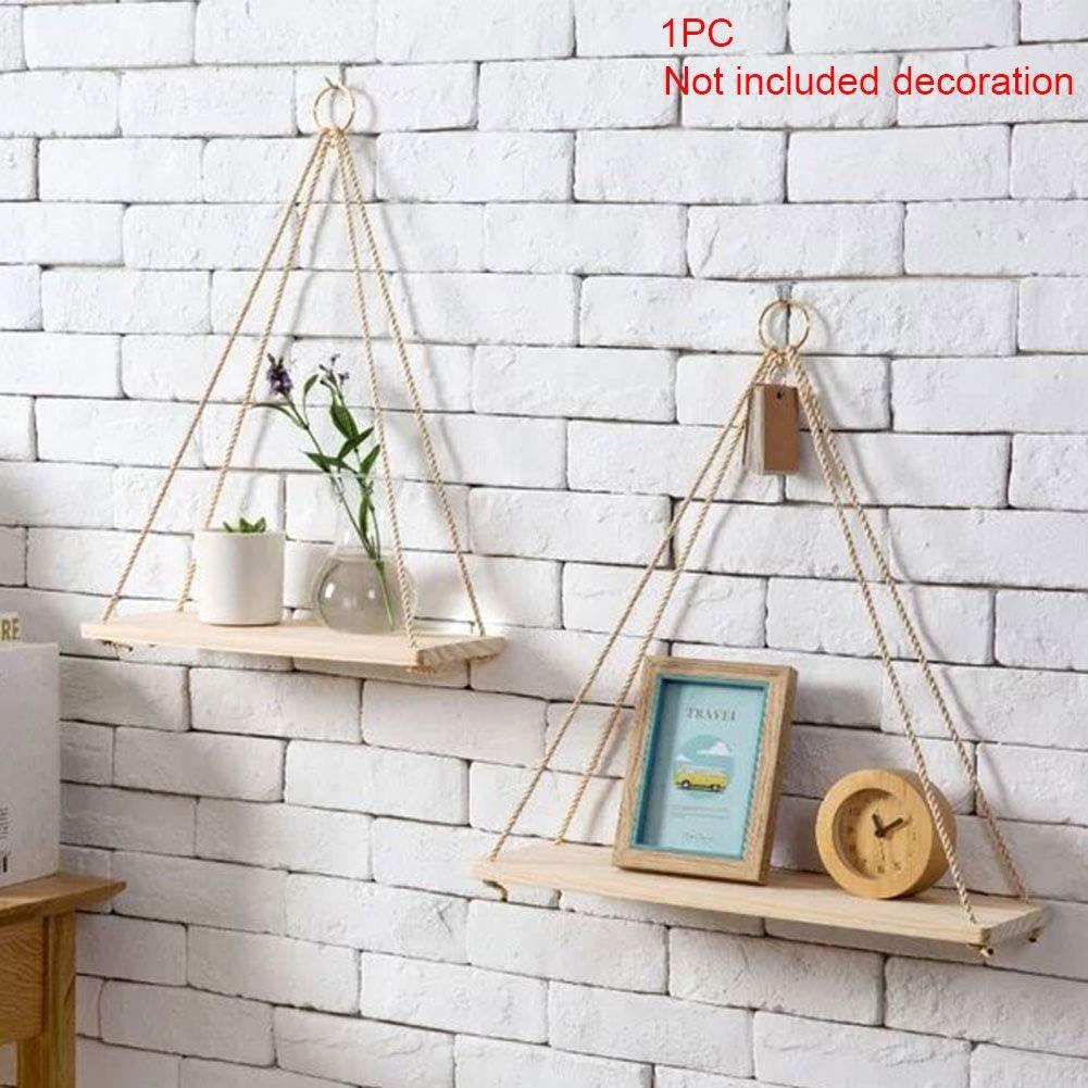 Plant Hanger,Wood Wall Floating Shelf Hanging Swing Rope Shelves,Wall Display Shelves Home Organizer Hanging Shelves for Living Room Bedroom Bathroom Kitchen