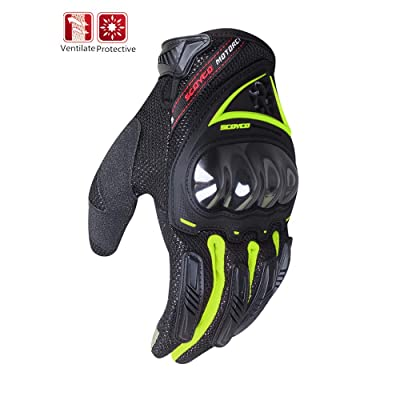 Scoyco Summer Light Reflective Wear-Resistant Knuckle Reinforced Ventilate Motorcycle Gloves for Scooter/MTB/at (Green,XL): Automotive
