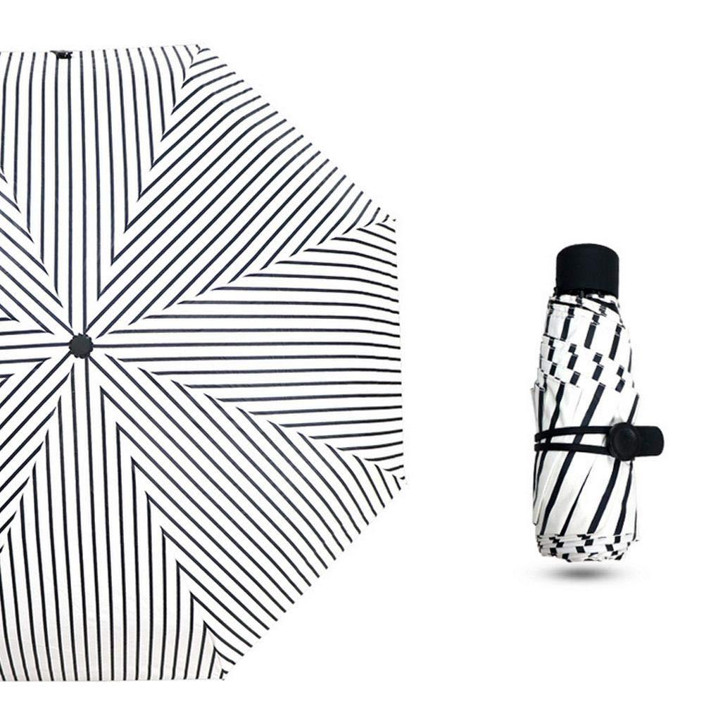 Aolvo UV サン傘 コンパクト 折りたたみ式 旅行 超軽量 傘 防風 防雨 & 99% UV保護 パラソル ブラック 紫外線防止コーティング UPF50 ポケット傘 (5スタイル)  ホワイトストライブ B07G79D8DP