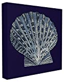 Stupell Home Décor Distressed Navy and White Scallop Shell Stretched Canvas Wall Art, 17 x 1.5 x 17, Proudly Made in USA