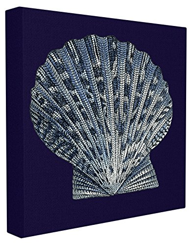 Stupell Home Décor Distressed Navy and White Scallop Shell Stretched Canvas Wall Art, 17 x 1.5 x 17, Proudly Made in USA by The Stupell Home Decor Collection