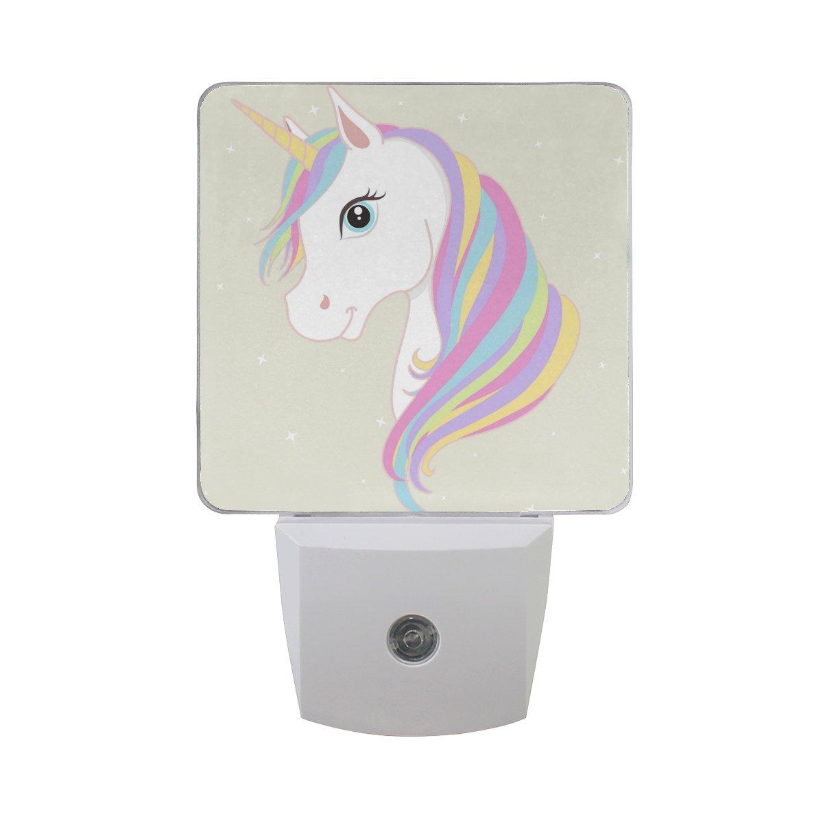 Plug in led night light lamp white unicorn printing with dusk to dawn sensor for bedroom bathroom hallway stairways 0 5w 2 pack amazon com