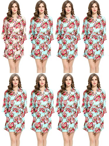 Floral Cotton Bridesmaids Robe 7 Mint & 1 White Wedding Bride by Endless Envy by Endless Envy