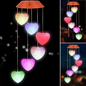 IIET Solar Heart Wind Chimes, Solar Lights Outdoor Waterproof Mobile Romantic LED Multi Solar Sensor Powered Wind Chimes Lights for Valentines Gift, Home, Yard, Night Garden, Party, Festival Decor