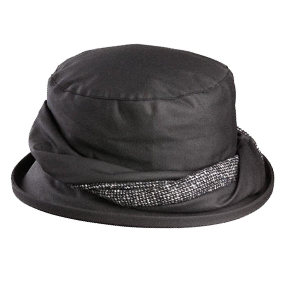 Olney Emma Waterproof Wax Hat with Tweed Trim (Black) by Olney