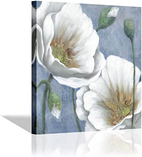 Flower Canvas Picture Wall Art – Floral White Blossoms Artwork Handmade Painting on Canvas for Office Decoration 24 x 24 x 1 Panel