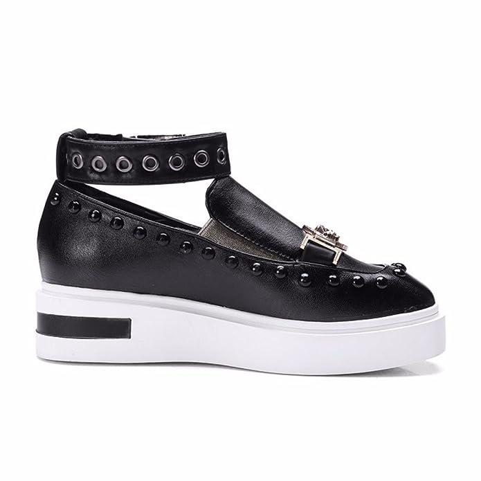 les Étudiants de Grande Taille avec Boucle Chaussures Cheville Métallique à Fond Épais Chaussures Talon Plat Décoratif,Rose,34
