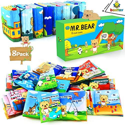 [해외]beetoy Mr. Bear Cloth Story Books 베이비 8팩 소프트 북 주름 유아 어린이 1~3세 아동을 위한 선물 상자 포함 아기에게 말하고 읽는 것을 가르쳐주세요 (곰: 어린이 베스트 프렌드) / beetoy Soft Books for Babies, 8 Pack Mr. Bear Cloth Story ...