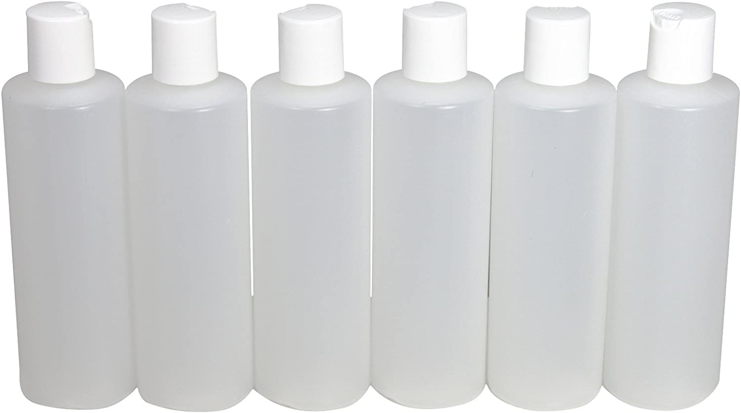 Pinnacle Mercantile 6-Pack Plastic Squeeze Bottles Flip Top 8 oz Refillable Travel Shampoo Soap Lotion Conditioner Made in USA