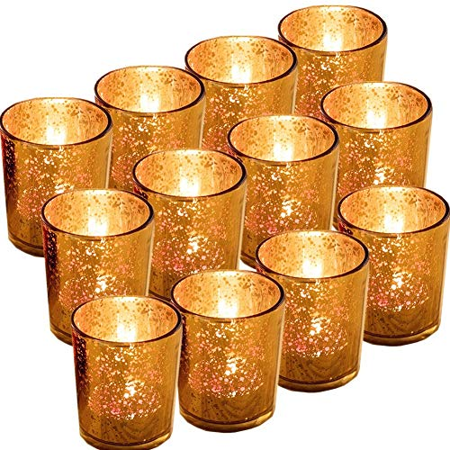 Gbateri 12 Pack Speckled Gold Votive Candle Holders,Mercury Glass Tealight Candle Holders 2.67