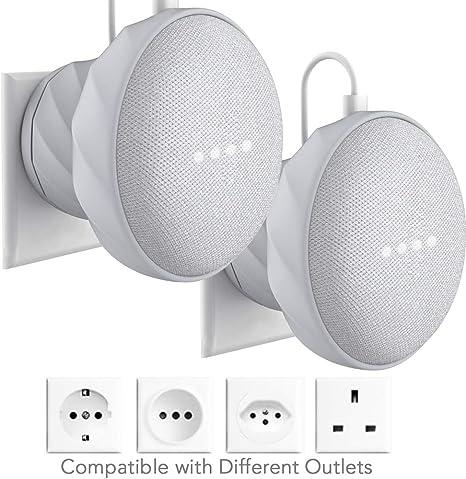 Nest Mini per cucina camera da letto bianco Supporto da parete per Google Home Mini 2/° generazione Gelink bagno nasconde il cavo lungo