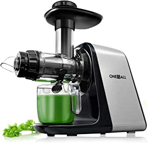 Juicer Machines, Oneisall [Unique Version] Slow Masticating Juicer Extractor Easy to Clean, Tritan & BPA-Free, Anti-Drip and 5 Mode Adjustment, Cold Press Juicer with Quiet Motor, Recipes for Vegetables and Fruits