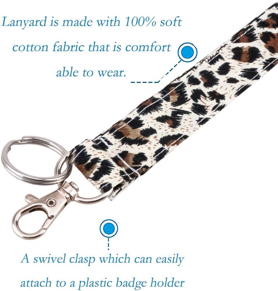 LNKRE JEWELRY Leopard Animal Print Lanyard Cotton Fabric Neck Strap Breath Lanyards for Keys,Id Badges,Card Holder,Cell Phone,Keychain,Wallet,Teacher,Women,Girls