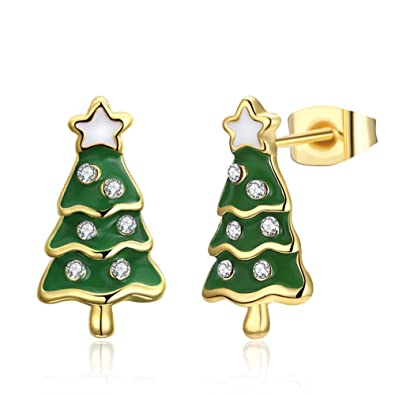 078f2c96d4edb Reiko Christmas Tree Rose Gold/Silver/Gold Plated Stud Earrings ...