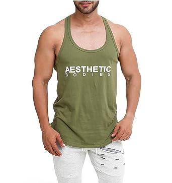 00da61b1 Mens Vest Active Wear Gym Wear Innerwear (Medium) Green: Amazon.in ...