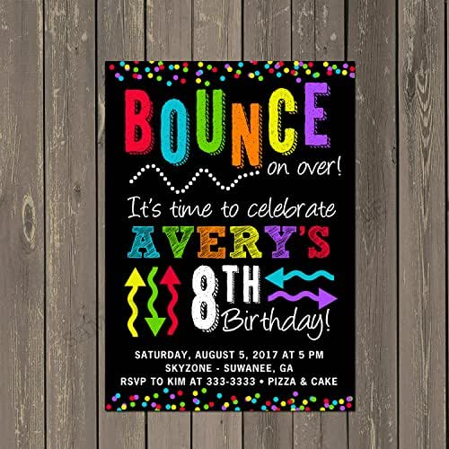 trampoline park bounce jump colorful and bright birthday party invitation set of. Black Bedroom Furniture Sets. Home Design Ideas