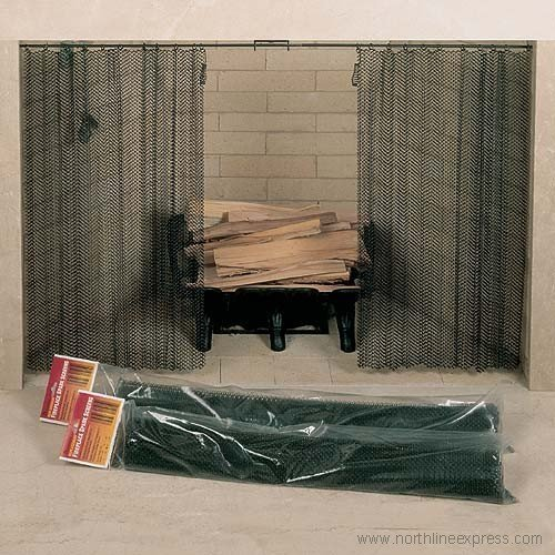 Fireplace Mesh Screen Curtain. 34 High . Includes 2 Panels,