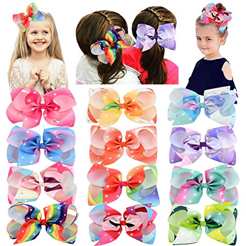 Baby Girl's Clips 6in Sparkling Rhinestones Large Grosgrain Ribbon Boutique Rainbow Hair Bows Clips for Baby Girls Teens Toddlers -