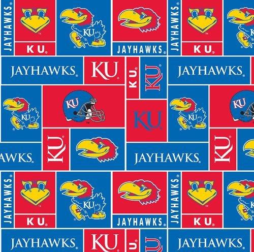 College University of Kansas Jayhawks 012 Print Fleece Fabric By the Yard
