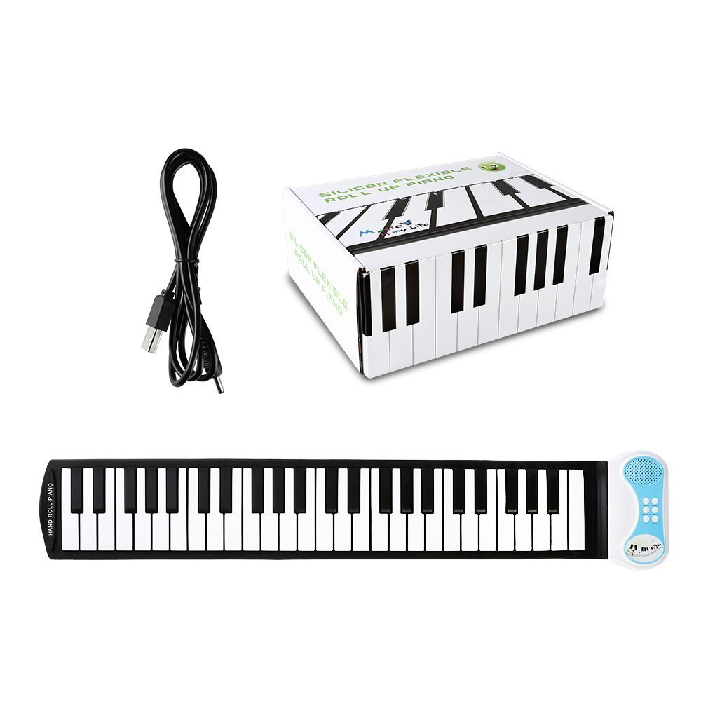 Children's Piano Electronic Digital Music Piano Keyboard 49 Key Foldable Recording Feature 8 Different Tones Build-in Speaker Easy to Learn,Blue