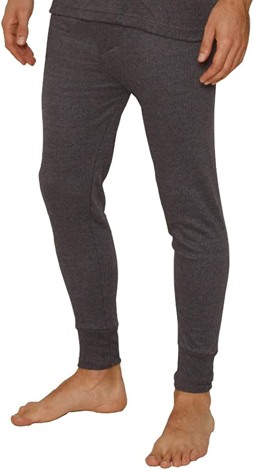 Charcoal Premium Quality Full Set Mens Thermal Underwear Long Sleeve Vest Top /& Long Johns Large Size