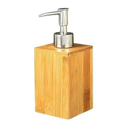 Amazoncom Johlycao Bamboo Liquid Soap Dispenser Premium Bathroom