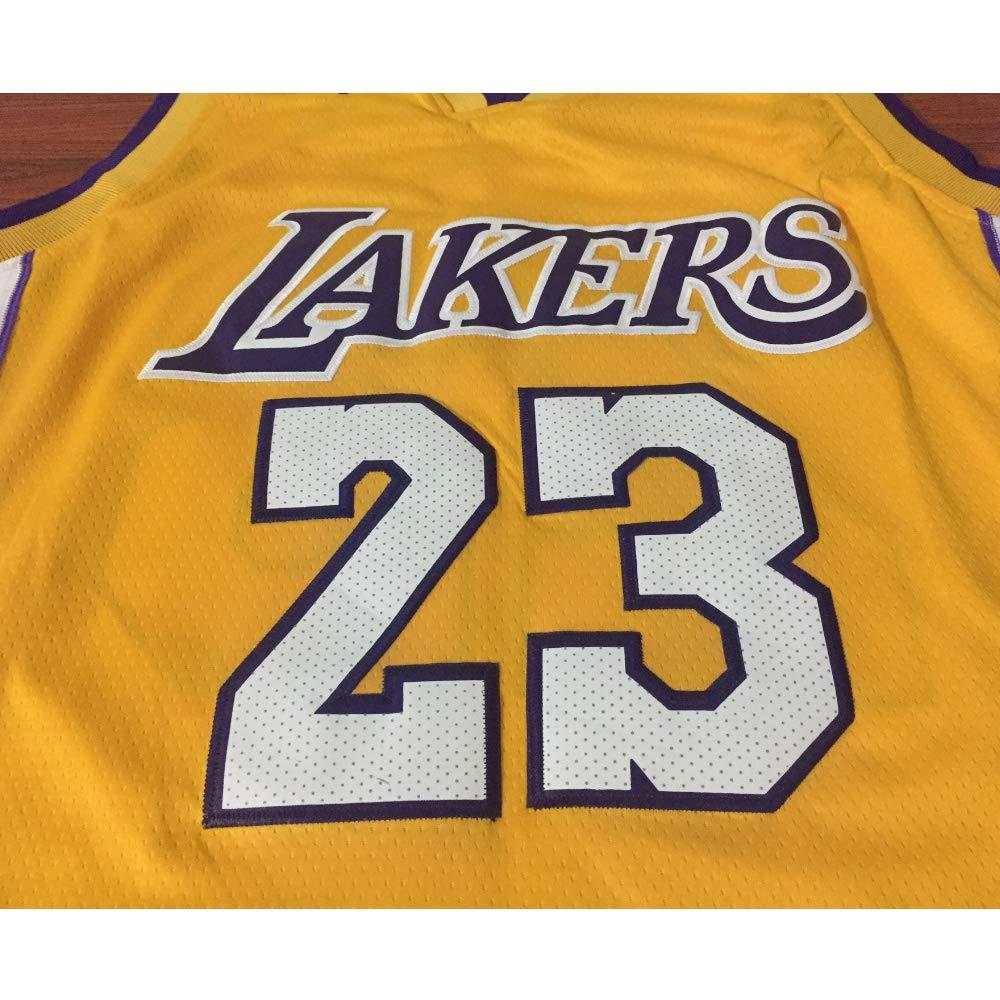 ZQ Lakers Lebron James # 23 Jersey Jersey di Los Angeles # 24 Basketball for Men e T-Shirt con Unisex T-Shirt con Cucitura a Mano Numeri Numeri Gialli-S Set Senza Maniche Classico