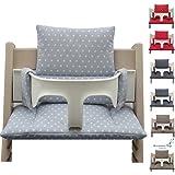 Blausberg Baby - Sitzkissen Kissen Set Polster (beschichtet) ** 7 FARBEN** für Stokke Tripp Trapp Hochstuhl (Hellgrau Stern beschichtet)