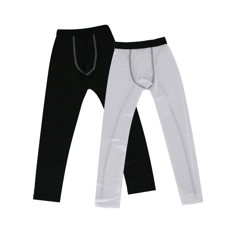 Junyue 2 Pairs Boys Girls Thermal Base Layer Pants Kids Compression Leggings