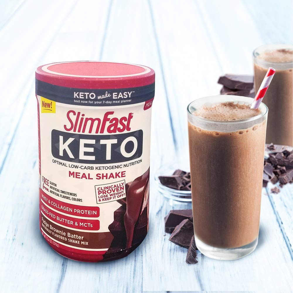 Slimfast Keto Meal Replacement Powder Fudge Brownie Batter Canister, 13.4 oz, Pack of 1 by SlimFast (Image #7)