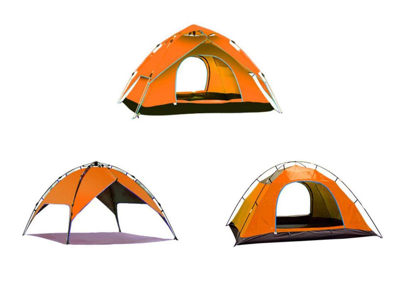 FEIYUESS Pop Up Zelt Automatisches hydraulisches Zelt-Ultra Large Wasserdichtes Kuppelzelt - Familien-Campingzelte mit Tragetasche (Farbe : Gelb (Three use))