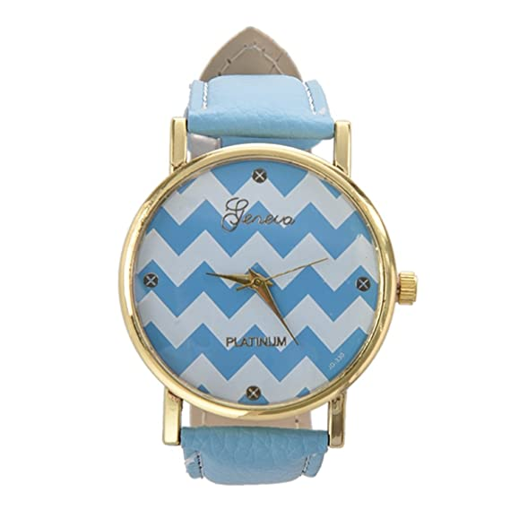 Reloj - GENEVA reloj unisex casual de banda de cuero de imitacion azul claro: Amazon.es: Relojes