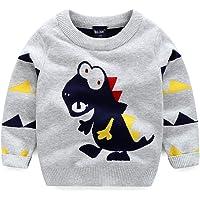 LaLaMa Toddler Boys Funny Dinosaur T-Shirt Long Sleeve Novelty Sweatshirt Kids Horns 2-8 Years(FBA)