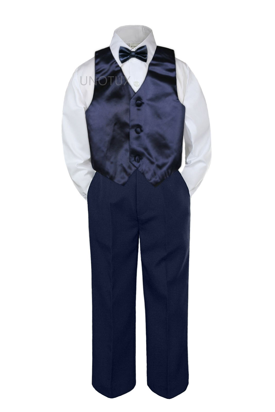Leadertux 4pc Baby Toddler Boys Navy Blue Vest Bow Tie Navy Blue Pants Suits S-7 (3T)